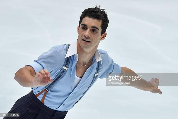 Javier Fernandez of Spain competes in the Men's Singles Free Skating during the Japan Open 2015 Figure Skating at Saitama Super Arena on October 3...