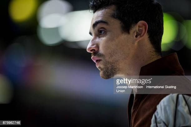 Javier Fernandez of Spain looks on in the Men's Free Skating during day two of the ISU Grand Prix of Figure Skating at Polesud Ice Skating Rink on...