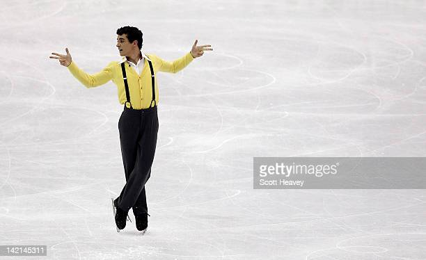 Javier Fernandez of Spain performs during day five of the ISU World Figure Skating Championships on March 30 2012 in Nice France