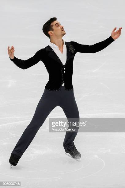 Javier Fernandez of Spain performs during the man short program ISU European Figure Skating Championships 2018 at the Megasport Arena in Moscow...