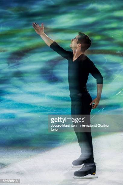 Javier Fernandez of Spain performs in the Gala Exhibition during day three of the ISU Grand Prix of Figure Skating at Polesud Ice Skating Rink on...
