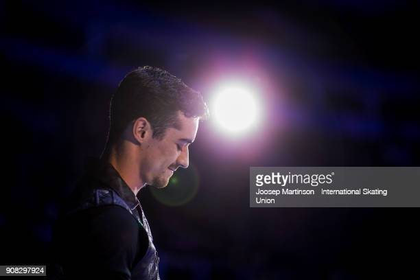 Javier Fernandez of Spain performs in the Gala Exhibition during day five of the European Figure Skating Championships at Megasport Arena on January...