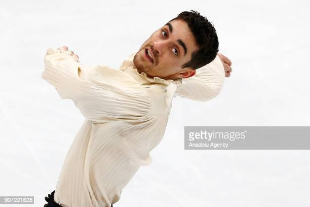 Javier Fernandez of Spain performs in the Man Free Skating during the ISU European Figure Skating Championships 2018 at the Megasport Arena in Moscow...