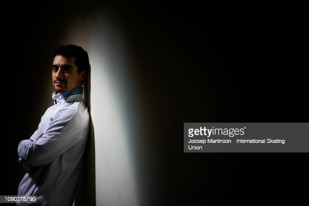Javier Fernandez of Spain poses for a photo during day five of the ISU European Figure Skating Championships at Minsk Arena on January 27 2019 in...