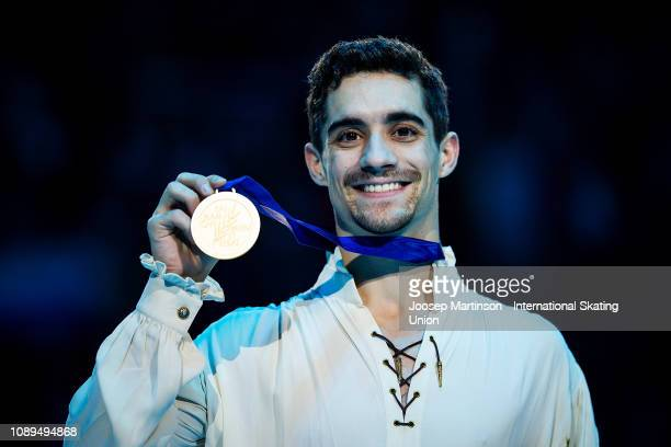 Javier Fernandez of Spain poses in the Men's medal ceremony during day four of the ISU European Figure Skating Championships at Minsk Arena on...