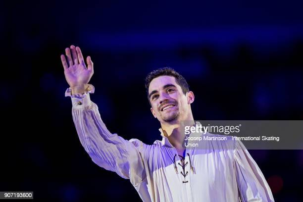 Javier Fernandez of Spain poses in the Men's medal ceremony during day three of the European Figure Skating Championships at Megasport Arena on...