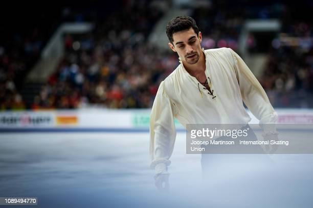 Javier Fernandez of Spain prepares in the Men's Free Skating during day four of the ISU European Figure Skating Championships at Minsk Arena on...