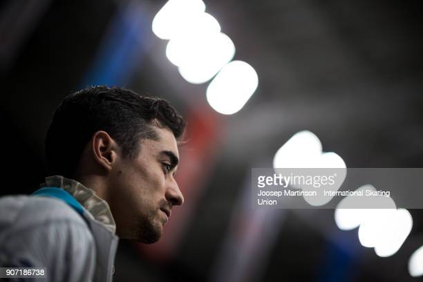 Javier Fernandez of Spain prepares in the Men's Free Skating during day three of the European Figure Skating Championships at Megasport Arena on...
