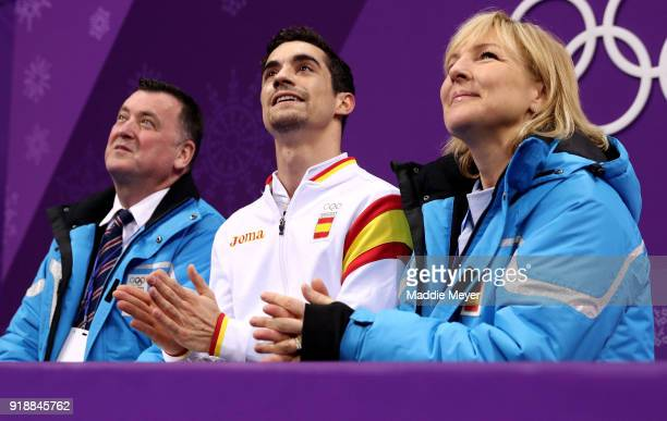 Javier Fernandez of Spain reacts after competing during the Men's Single Skating Short Program at Gangneung Ice Arena on February 16 2018 in...