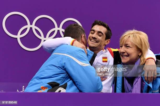 Javier Fernandez of Spain reacts after competing during the Men's Single Free Program on day eight of the PyeongChang 2018 Winter Olympic Games at...