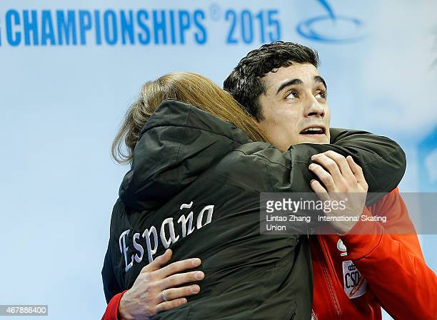 Javier Fernandez of Spain reacts after competing in the Ice DanceMan Free Skating Program on day four of the 2015 ISU World Figure Skating...