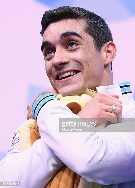 Javier Fernandez of Spain reacts after hearing his score in the Men's Free Skate program during Day 5 of the ISU World Figure Skating Championships...