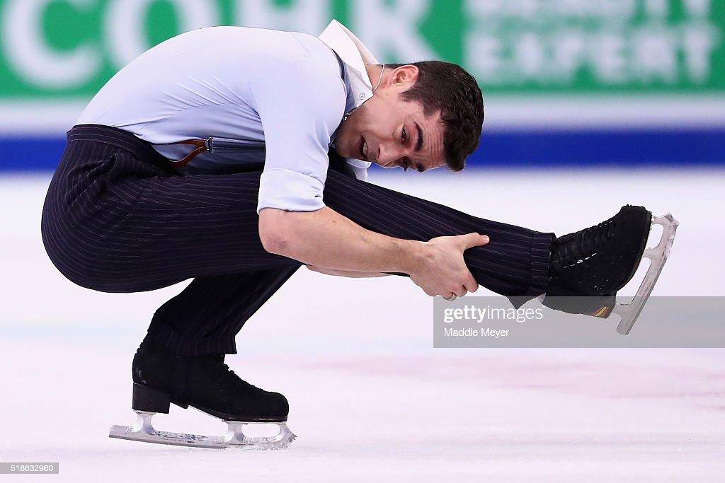 Javier Fernandez of Spain skates in the Men's Free Skate program during Day 5 of the ISU World Figure Skating Championships 2016 at TD Garden on April 1, 2016 in Boston, Massachusetts.