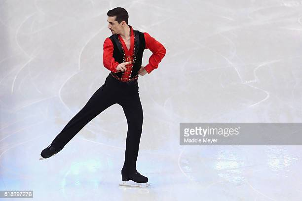 Javier Fernandez of Spain skates in the Men's Short program during day 3 of the ISU World Figure Skating Championships 2016 at TD Garden on March 30...