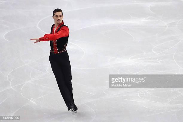 Javier Fernandez of Spain skates in the Men's Short program during day 3 of the ISU World Figure Skating Championships 2016 at TD Garden on March 30...
