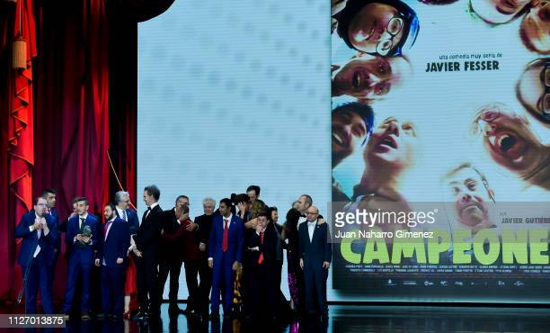 Javier Fesser and Campeones crew receive best film Goya award during the 33rd edition of the 'Goya Cinema Awards' ceremony at Palacio de Congresos y...