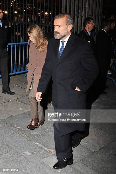 Javier FitzJames Stuart and Maria Chavarri attend memorial service for Duchess of Alba on December 15 2014 in Madrid Spain