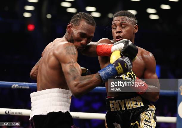 Javier Fortuna elbows Robert Easter Jr during their IBF lightweight title bout at the Barclays Center on January 20 2018 in New York City