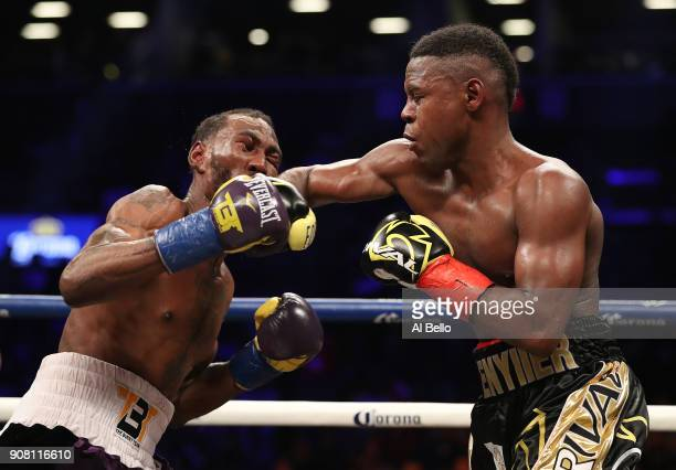 Javier Fortuna punches Robert Easter Jr during their IBF lightweight title bout at the Barclays Center on January 20 2018 in New York City