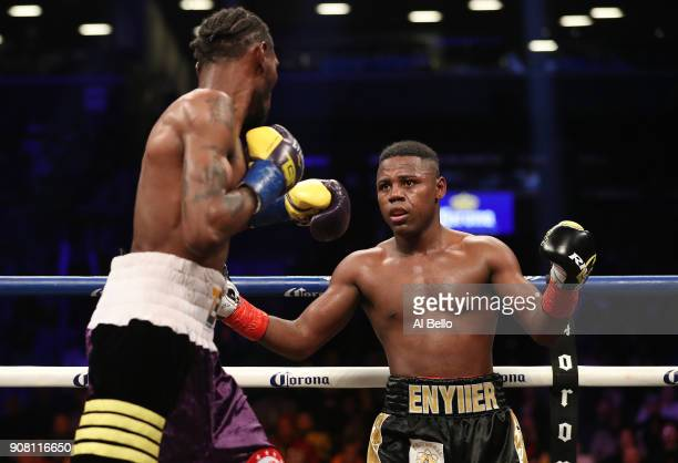 Javier Fortuna reacts against Robert Easter Jr during their IBF lightweight title bout at the Barclays Center on January 20 2018 in New York City