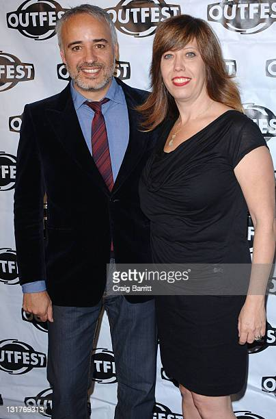 Javier Fuentes-Leon and Outfest Executive Director Kirsten Schaffer arrives at The 2010 Outfest Legacy Awards at the Directors Guild Of America on...