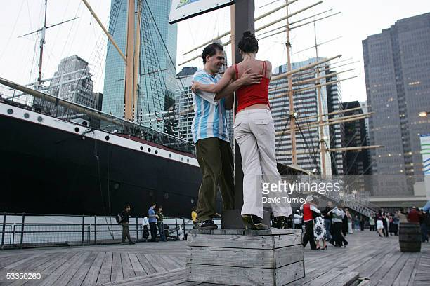 Javier Garcia and Moira Sauvane dance the tango at the South Street Seaport June 19, 2005 in New York City. Javier Garcia, an Argentinian-American...