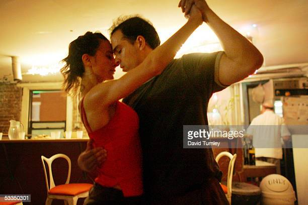 Javier Garcia and Moira Sauvane dance the tango at Triangulo June 7, 2005 in New York City. Javier Garcia, an Argentinian-American and a third-year...
