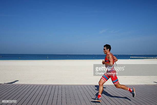 Javier Gomez Noya of Spain in action during the run leg of the race during the Ironman 703 Dubai on January 27 2017 in Dubai United Arab Emirates