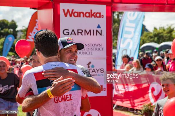 Javier Gomez of Spain and Branden Currie of New Zealand at the finish od the 2018 Challenge Wanaka on February 17 2018 in Wanaka New Zealand