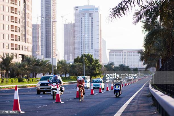 Javier Gomez of Spain competes during the bike leg of IRONMAN 703 Middle East Championship Bahrain on November 25 2017 in Bahrain Bahrain