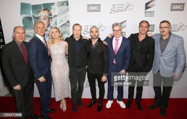 Javier Grajeda, Patrick Fabian, Rhea Seehorn, Bob Odenkirk, Michael Mando, Peter Gould, Tony Dalton and Vince Gilligan attend the premiere of AMC's...