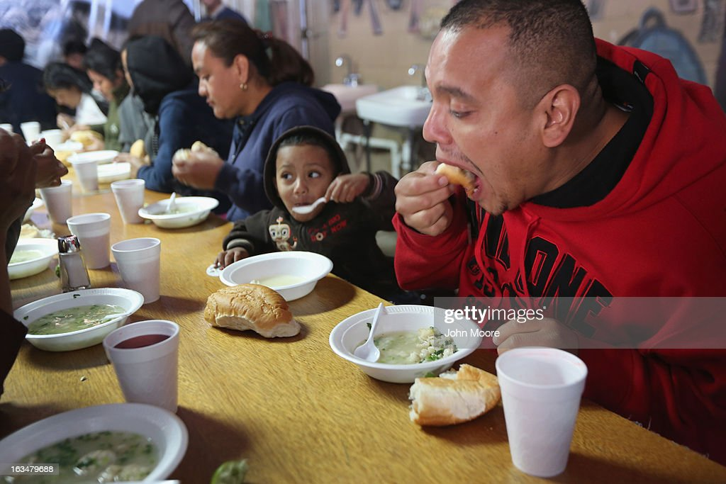 Javier Guerrero from Mexico eats with his visiting son, Javier Jr (3), a U.S. citizen, at a soup kitchen for immigrants near the U.S.-Mexico border on March 10, 2013 in Nogales, Mexico. He is married to American citizen Lace Rodriguez, and the family had lived together in Phoenix. Guerrero, an undocumented worker from Mexico, said he was detained by the U.S. Border Patrol after being stopped for speeding and drug possession, held for three months by ICE and then deported March 4 to Nogales, Mexico. Guerrero had lived in the United States for 17 years. He and Rodriguez, a medical student, have two children, and she is nine-months pregnant with a third. The splitting up of families has become a major issue as the U.S. works towards immigration reform.