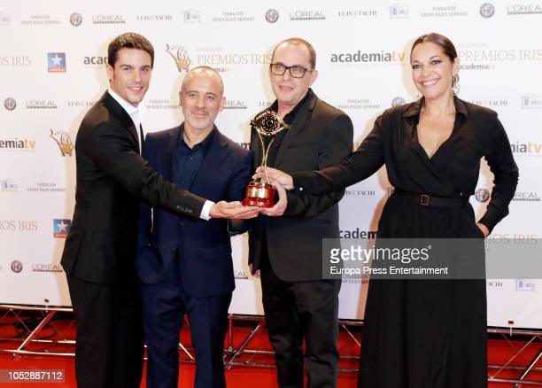 Javier Gutierrez Alejo Sauras and Cristina Plazas attend Iris Television Awards Photocall at Kinepolis on October 23 2018 in Madrid Spain