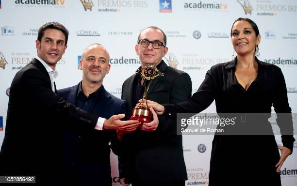 Javier Gutierrez Alejo Sauras and Cristina Plazas pose for a photo with their award during Iris Awards 2018 on October 23 2018 in Madrid Spain