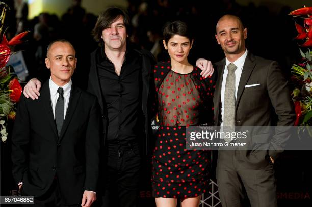 Javier Gutierrez Inaki Dorronsoro Alba Galocha and Alain Hernandez attend the 'Plan de Fuga' premiere on day 5 of the 20th Malaga Film Festival at...