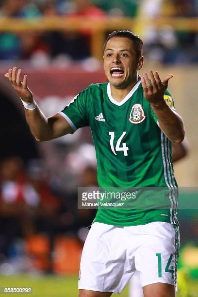 Javier Hernadez of Mexico reacts after a fault during the match between Mexico and Trinidad Tobago as part of the FIFA 2018 World Cup Qualifiers at...