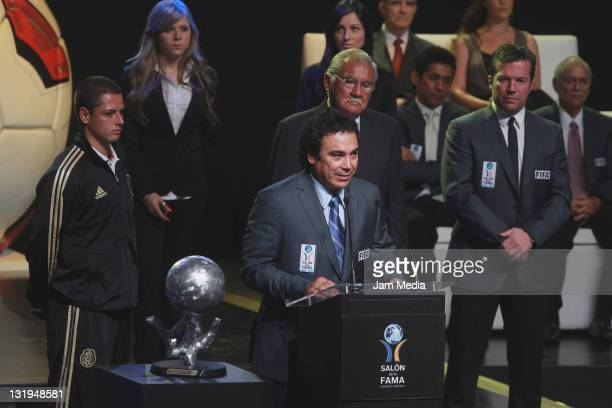 Javier Hernandez Antonio Carbajal Lothar Mattaus and Hugo Sanchez during Investiture Ceremony for the 2011 Hall of Fame National and International...