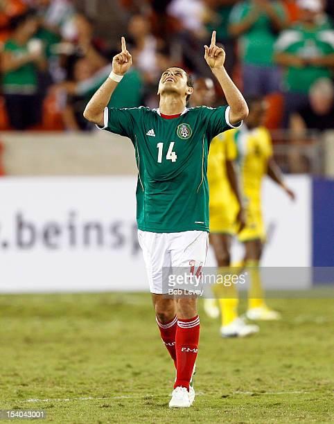 Javier Hernandez celebrates after scoring on Guyana at BBVA Compass Stadium on October 12 2012 in Houston Texas Mexico defeated Guyana 50