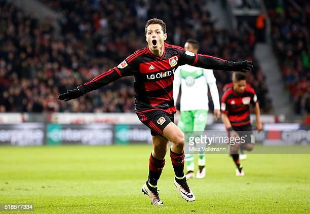 Javier Hernandez Chicharito of Leverkusen celebrates scoring the 20 goal during the Bundesliga match between Bayer Leverkusen and VFL Wolfsburg at...