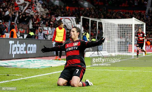 Javier Hernandez Chicharito of Leverkusen celebrates scoring the 30 during the Bundesliga match between Bayer Leverkusen and Hannover 96 at BayArena...