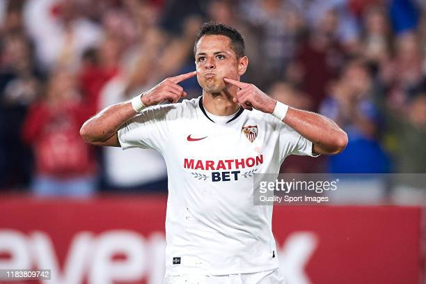 Javier Hernandez Chicharito of Sevilla FC celebrates scoring his team's opening goal during the Liga match between Sevilla FC and Getafe CF at...