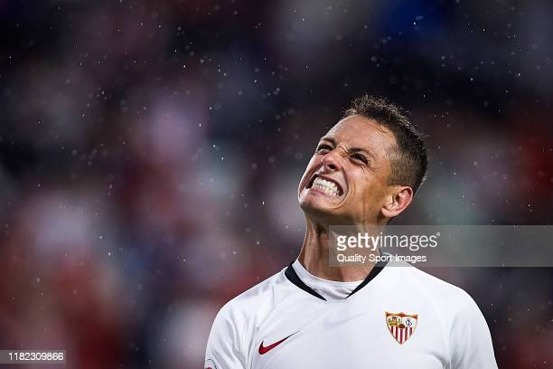 Javier Hernandez Chicharito of Sevilla FC reacts during the Liga match between Sevilla FC and Levante UD at Estadio Ramon Sanchez Pizjuan on October...