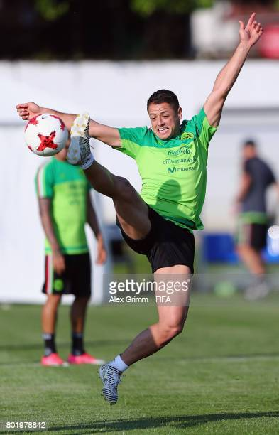 Javier Hernandez jumps for the ball during a Mexico training session at Adler training ground ahead of their FIFA Confederations Cup Russia 2027...