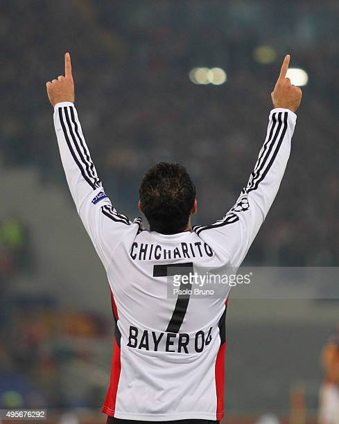 Javier Hernandez of Bayer 04 Leverkusen celebrates after scoring the team's second goal during the UEFA Champions League Group E match between AS...