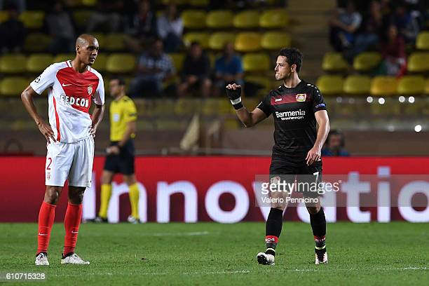 Javier Hernandez of Bayer 04 Leverkusen celebrates after scoring the opening goal during the UEFA Champions League Group E match between AS Monaco FC...