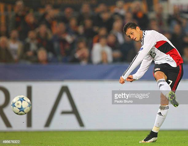 Javier Hernandez of Bayer 04 Leverkusen scores the team's second goal during the UEFA Champions League Group E match between AS Roma and Bayer 04...