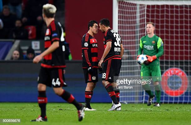 Javier Hernandez of Bayer Levekusen and Karim Bellarabi of Bayer Levekusen argue during the UEFA Champions League Group E match between Bayer 04...