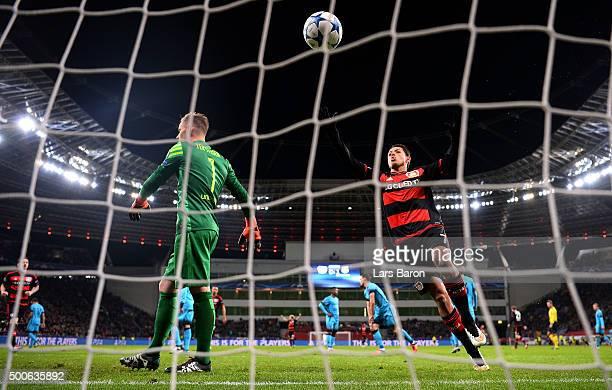 Javier Hernandez of Bayer Levekusen celebrates scoring the first Bayer Levekusen goal during the UEFA Champions League Group E match between Bayer 04...