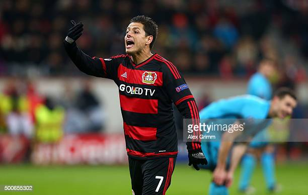 Javier Hernandez of Bayer Levekusen reacts during the UEFA Champions League Group E match between Bayer 04 Leverkusen and FC Barcelona at BayArena on...