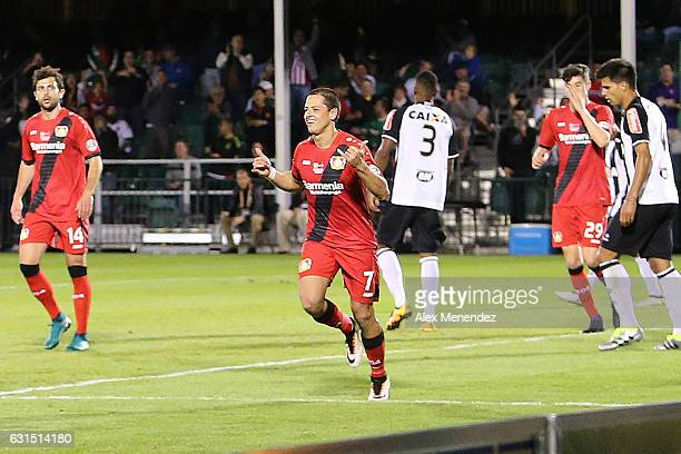Javier Hernandez of Bayer Leverkusen celebrates a goal against Clube Atletico Mineiro at ESPN Wide World of Sports Complex on January 11 2017 in...